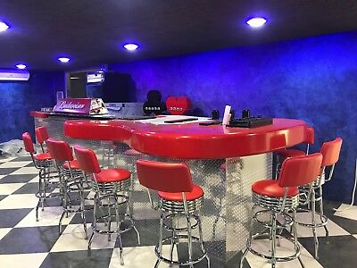 Classic 50s Swivel Bar Stools W Backs Commercial Quality