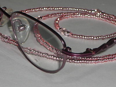 "Beaded Eyeglass Chain~ Neck Cord Pastel Pink Crystal Accents~28"" Buy 3 SHIP FREE"