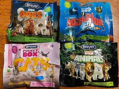 Breyer Pocket Box (1 of each) DOGS AQUARIUM CATS & ANIMALS - Lot of 4 Blind Bags