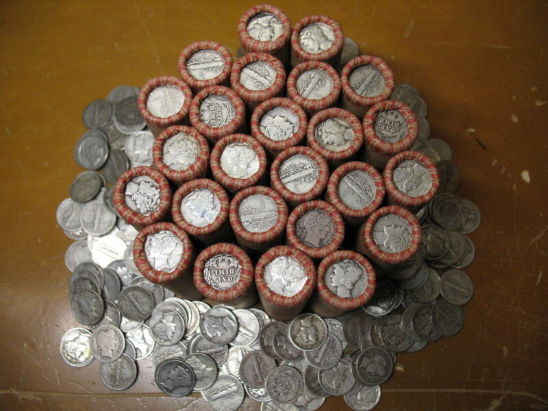@SALE@ OLD INVESTMENT COLLECTION LOT WHEAT CENT PENNY ROLLS w/90% SILVER US DIME
