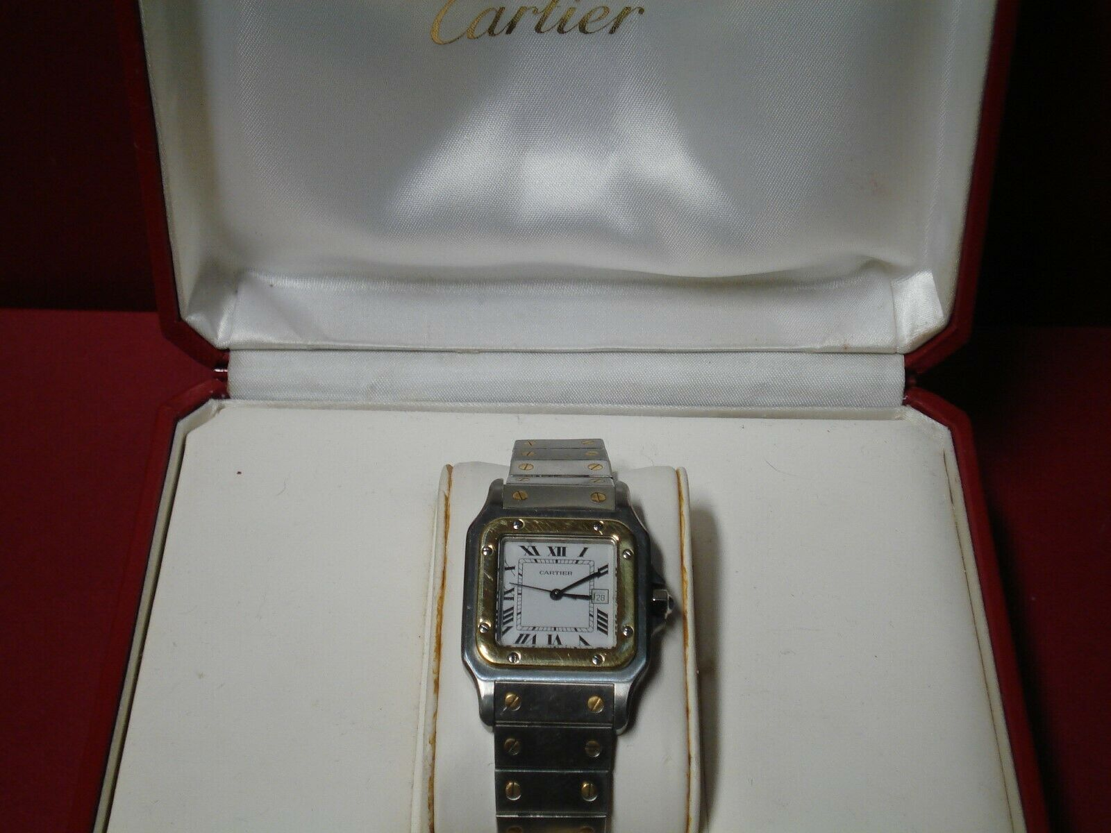 Cartier Santos Mens automatic Watch 18KT Gold And Stainless