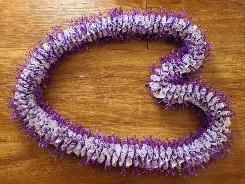 Graduation Wedding Party Beautiful Hawaiian Purple with White Eyelash Ribbon Lei