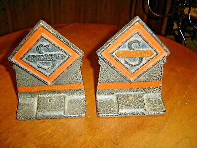 """Antique""""Switches ~ Switch Boards"""" Pair Diamond S Book Ends 837"""