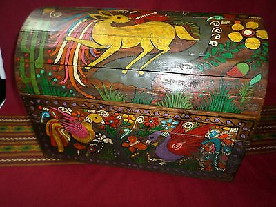 "Mexican Folk Art 18"" Wood Dowry Chest Baul Box Colonial Furniture Painted Birds"