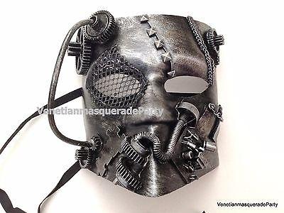 Steampunk Bauta Full Face Demon Robot Colombina Mask for Men Halloween Costume (Robot Face Halloween)