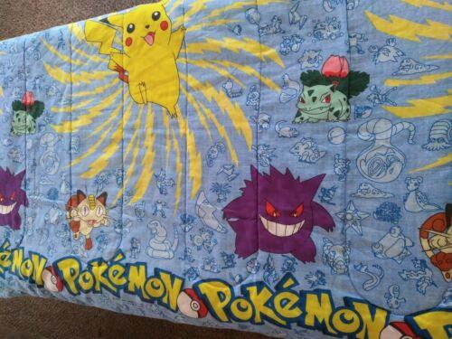 """Nintendo Pokemon Twin Comforter 84""""x64"""" Blanket 1995, 1996 & 1998"""