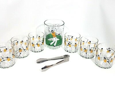 Vintage Set 6 low ball Whiskey Glasses for golfer with Glass ice holder & (Glasses For Golfers)