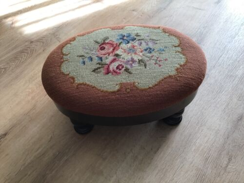 Antique Mahogany Wood/ Vintage Prayer Stool/Foot rest/ Lovely Tapestry with rose
