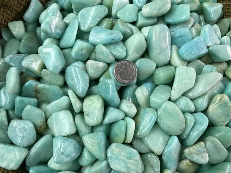 2000 Carat Lots of Polished Tumbled Amazonite + FREE Faceted Gemstone