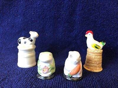 Lot Of 4 Enesco Thimbles..Chicken, Cow, Frog And Rabbit for sale  Fort Myers
