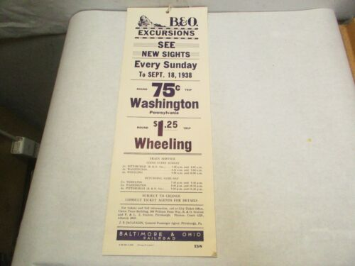 1938 Wheeling, Washington Every Sunday Excursions Baltimore & Ohio RR Poster