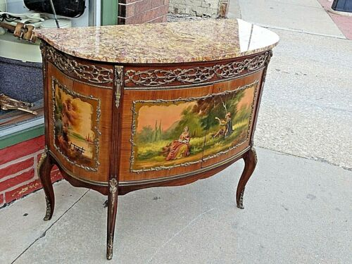 French Vintage Louise the XVI Marble Top Painted Portrait curved Cabinet Bar