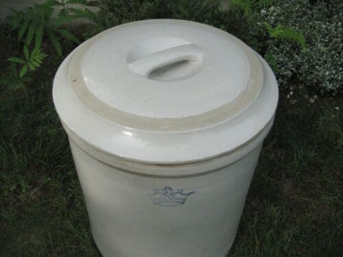 20 Gallon Stoneware Crock Blue Crown with Lid...rare