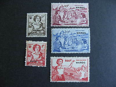 Maroc Morocco overprint on 5 charity? labels MNH some small stains see pictures