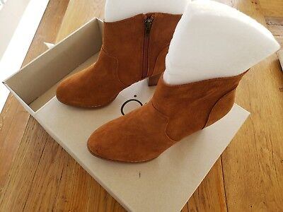 Urban Outfitters Westie Welt Cognac Brown Suede Zippered Heel Ankle Boots SZ 7