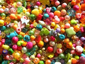 80g 300 - 400 Multi Coloured Random Mixed Beads Acrylic Glass Wood Job Lot