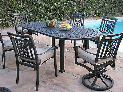 New 7 Piece Outdoor Patio Furniture Aluminum Dining Set AO with 2 Swivel Rockers ()
