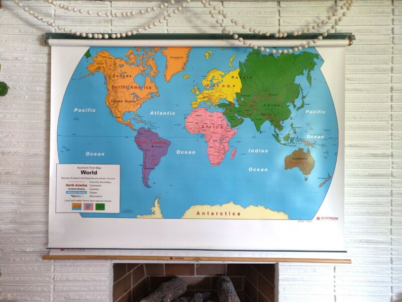 Nystrom Pull Down Map of United States and World - old school classroom map