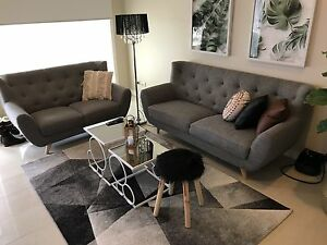 Couches grey 1 three seater 1 two seater Gowanbrae Moreland Area Preview