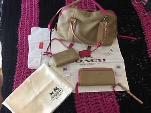 Authentic Coach Bleecker Preston Camel/Pink Ruby 3pc set #30165
