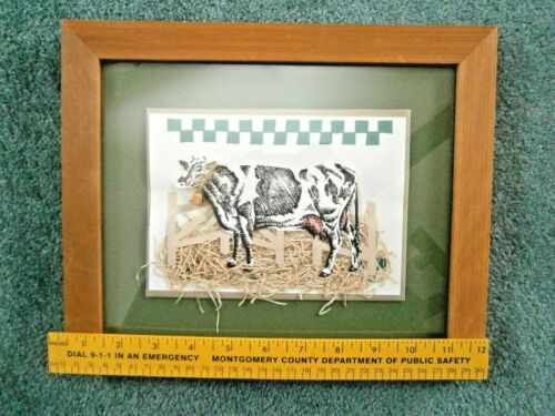 Country Kitchen Cow 3-D Wall Art Rustic Wood Frame Glass Cover