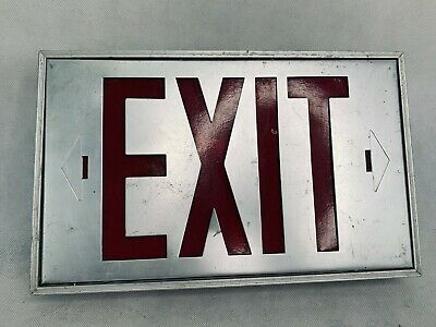 Vintage Exit Sign Metal Aluminum Industrial Illumination Theater Garage Light