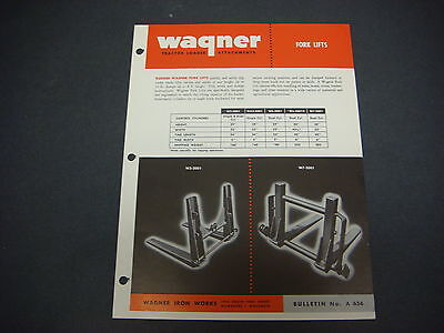 Wagner Iron Works Cover Sheet Tractor Loader Attachments Fork Lifts No 656 M4194