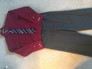 Boys dress pants (14), dress shirt (12) and tie