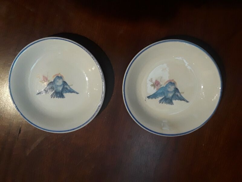 Two Vintage Blue Bird Butter Pats