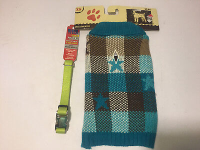 """DOG SWEATER AND DOG COLLAR~ EX SMALL SIZE SWEATER ~ COLLAR 10-14"""""""