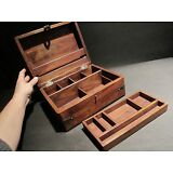 19th C Antique Vintage Style Document Travel Writing Wood Desk Box Scribe