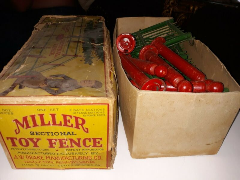 Rare antique labeled 1920 boxed Miller Christmas tree-train fence, 11 pc.100 yrs