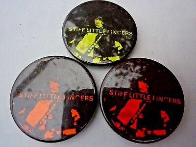 """STIFF LITTLE FINGERS x 1 """" Vintage 1970's - 1980's Button /  Badge  1 ½  """""""