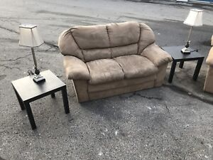 SUEDE BEIGE COUCH/SOFA SET - GREAT COND- DELIVERY AVAILABLE
