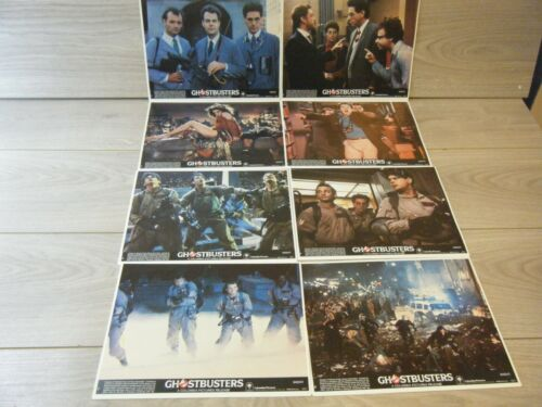 COMPLETE SET OF 8 ORIGINAL RELEASE GHOSTBUSTERS MOVIE FRONT OF HOUSE LOBBY CARDS