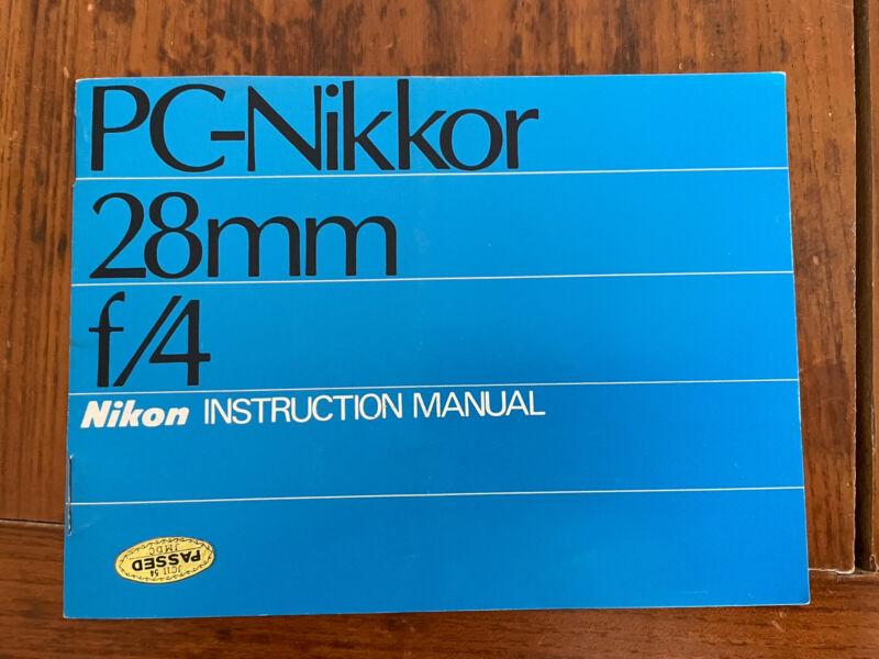 Nikon PC-Nikkor 28mm F4 Instruction manual