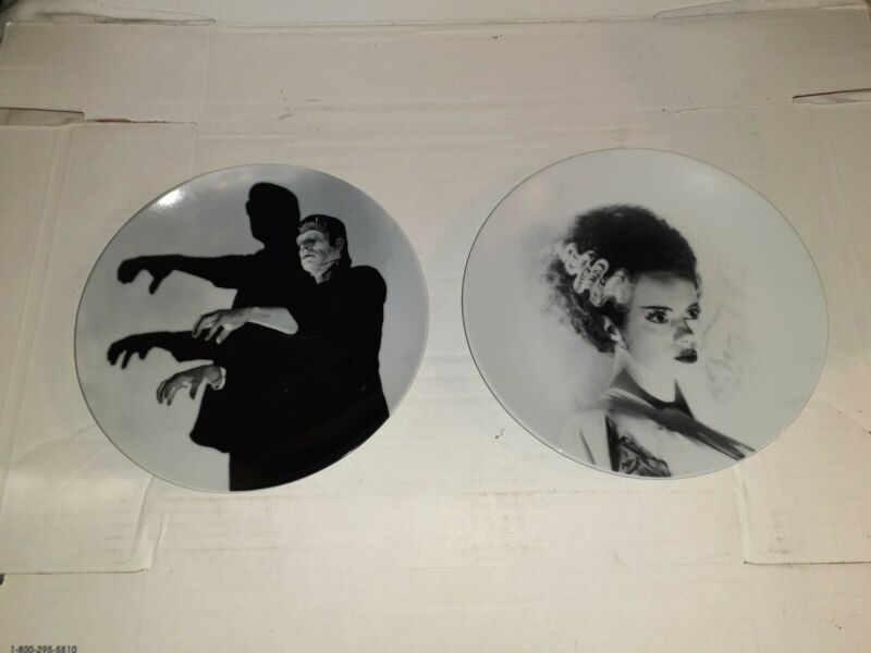 Pair Universal Frankenstein & Bride of Frankenstein Plates by World Market--Used