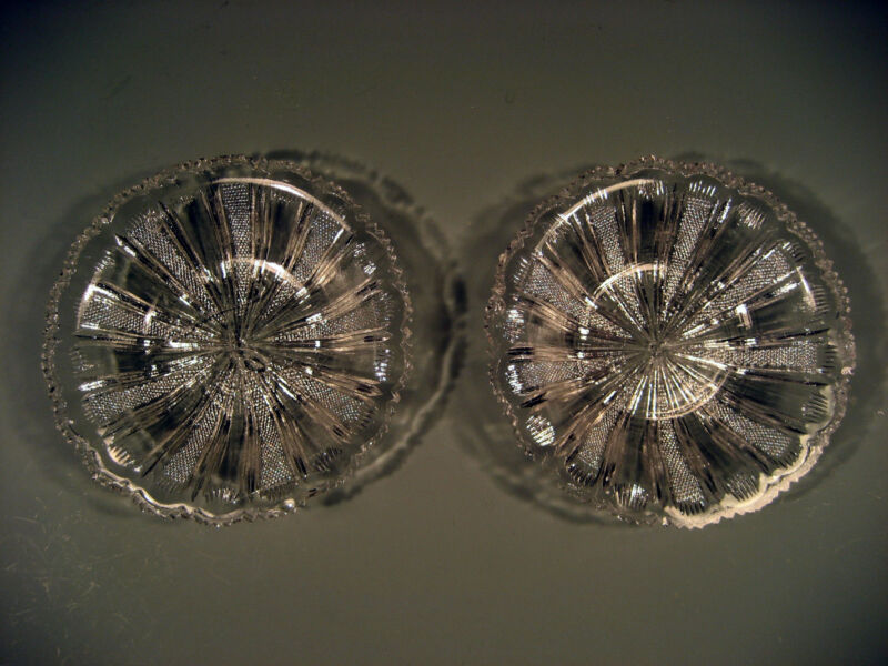 Pair Early American Pattern Glass Plates Radiating Sunburst Decoration 19th c.