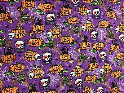 Halloween pumpkins and skulls on purple 100% cotton fabric by the - Purple Halloween Pumpkin