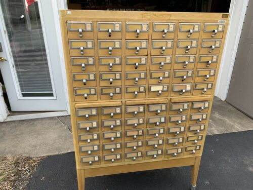 Antique Library Card Catalog Cabinet 60 Drawer Maple Very Good Condition