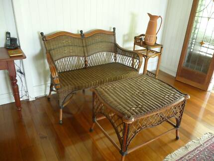 Cane / Wicker Furniture. Double Seat, Table, Telephone stand. Edge Hill Cairns City Preview