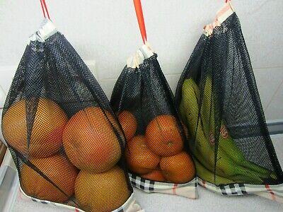 3er Set wiederverwendbare Obst-und Gemüse Netze,Einkaufsnetze ,selbst genäht