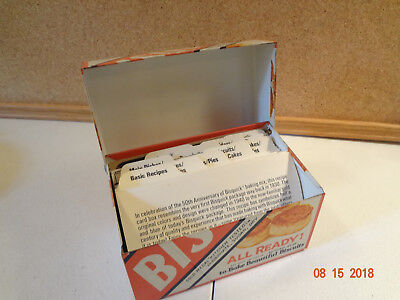 Vintage Bisquick Metal Recipe Box with recipes and divider cards](Recipe Box And Cards)