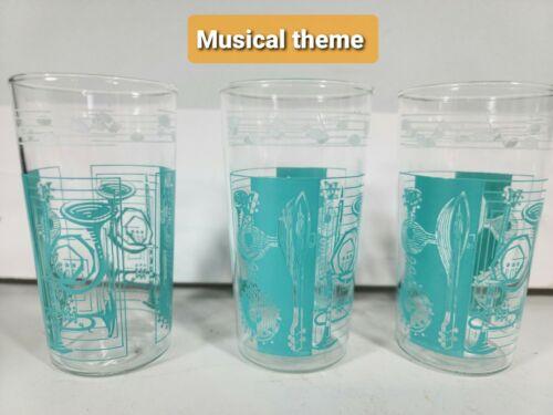 8 Vintage Hazel Atlas Turquoise Kitsch Mid Century Musical Drinking Glasses 50
