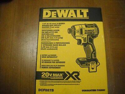Dewalt DCF887B 20V Max Lithium Ion 3 Speed XR Brushless 1/4