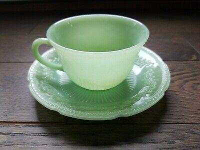 Fire King Jade Jadeite Glass Coffee Tea Cup & Saucer Set Vintage Collectible Jade Glass Circle