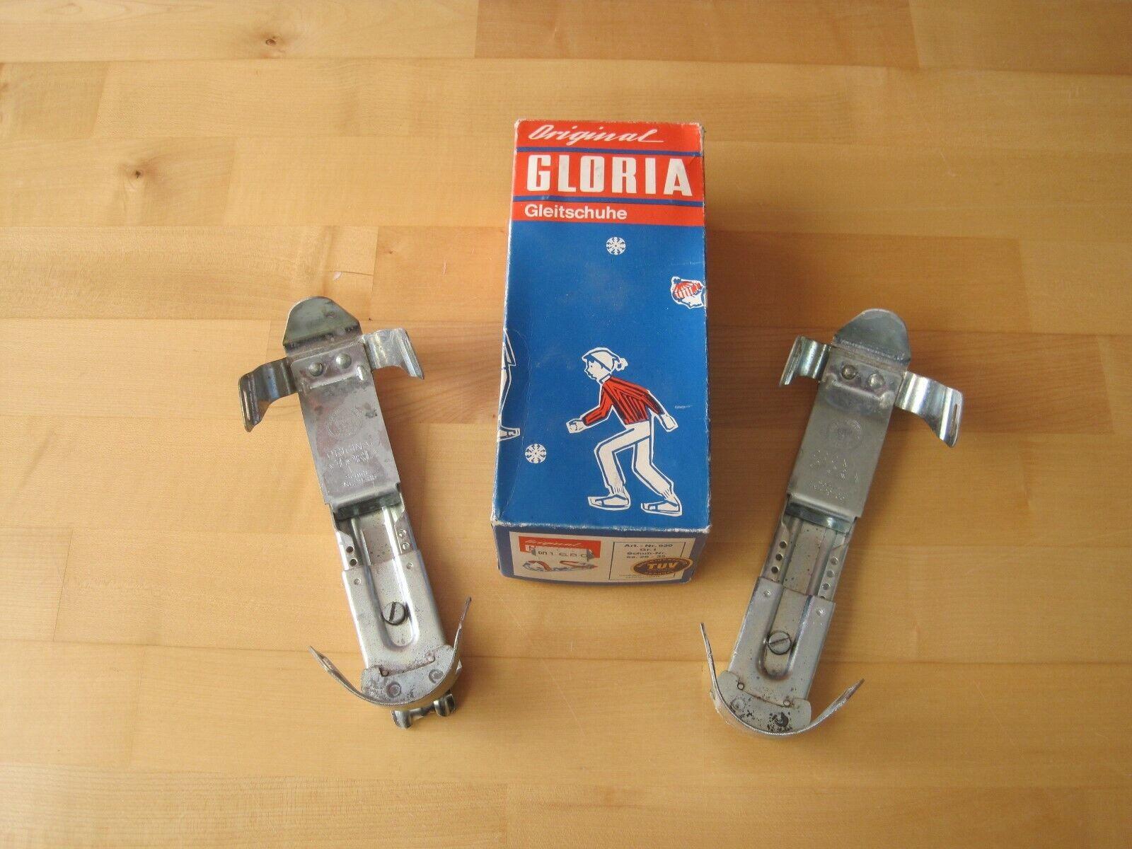Altes Paar Original Gloria Gleitschuhe Gr.1 28-35 verstellbar in OVP für Sammler