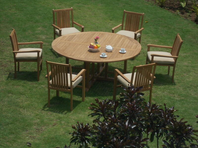 "7-piece Outdoor Teak Dining Set: 72"" Round Table, 6 Stacking Arm Chairs Cahy"