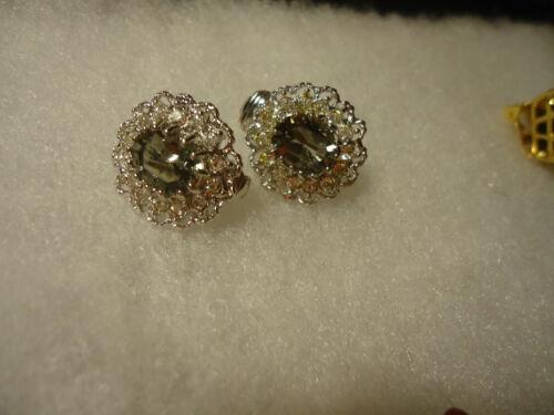 Vintage/nos silver tone clear/smokey topax rhinestone earrings