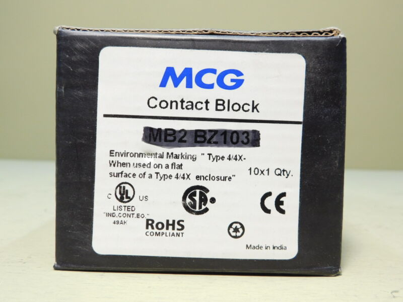 BRAND NEW - BOX OF 10x PIECES - MCG MB2BZ103 Contact Blocks